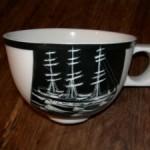 Graf Luckners Schiff Seeadler auf einer limitierten Porzellan Sammeltasse