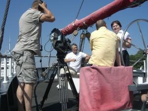 Filmdreh (making of) zur Dokumentation über Luckners Yacht